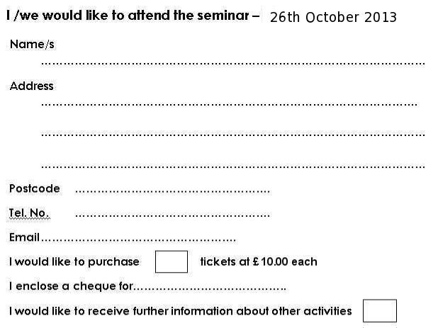 Form for 2013 seminar